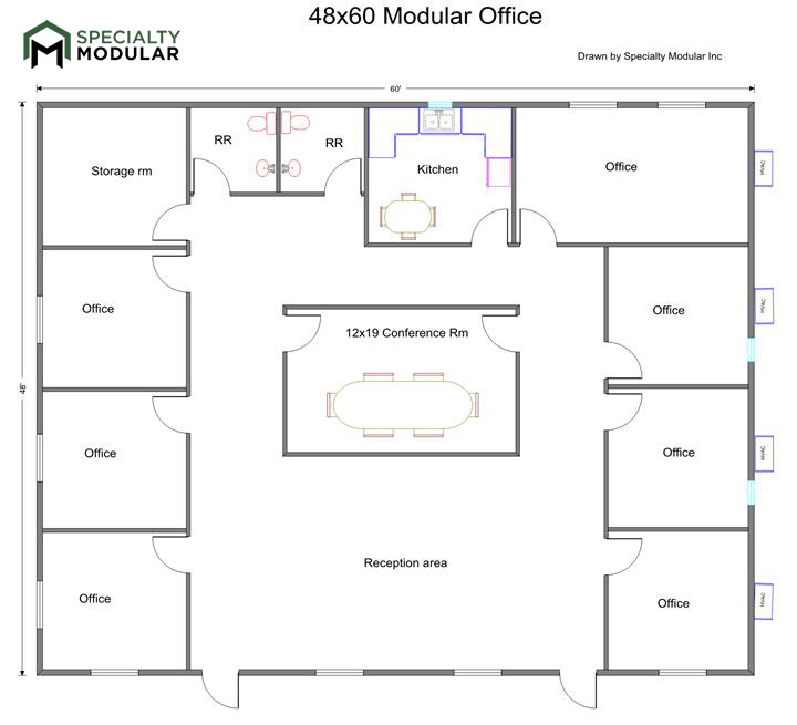 open office floor plans. Floor plan consists of 7 8 offices  a break room or kitchen area 2 RR s conference open office reception Ideal for 10 15 people and Specialty Modular Inc Plans Prefab Buildings